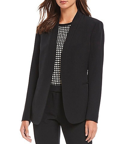 Anne Klein Stretch Crepe Open Front Jacket