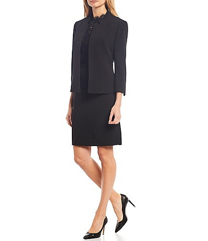 Anne Klein Stretch Crepe Seamed Open Front Jacket & Bi-Stretch Side-Front Pocket Pencil Skirt