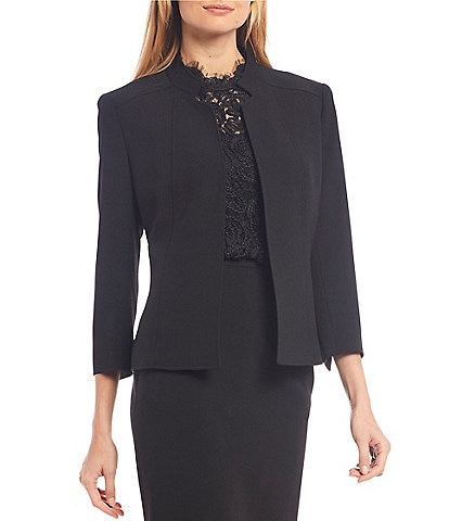 Anne Klein Stretch Crepe Seamed Open Front Jacket