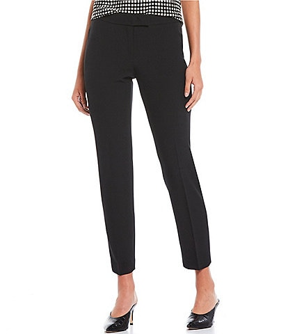 Anne Klein Stretch Crepe Slim Straight Leg Ankle Pants