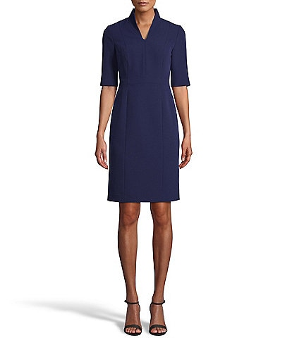 Anne Klein Stretch Crepe Zip Front Elbow Sleeve Sheath Dress