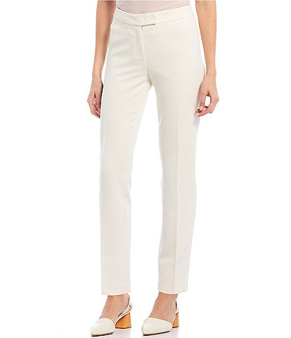 Anne Klein Stretch Refined Twill Slim Straight Leg Pants