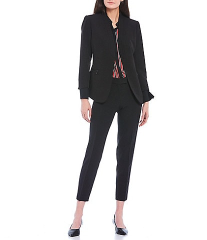 Anne Klein Stretch Twill Zip Pocket Cardigan Jacket & Crepe Slim Straight Leg Ankle Pants