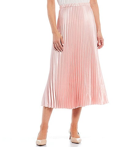 Anne Klein Textured Satin Pleated Pull-On Midi Skirt