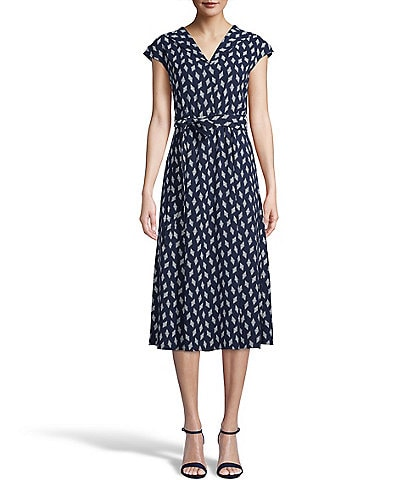 Anne Klein Tie Waist Cap Sleeve Printed Midi Dress