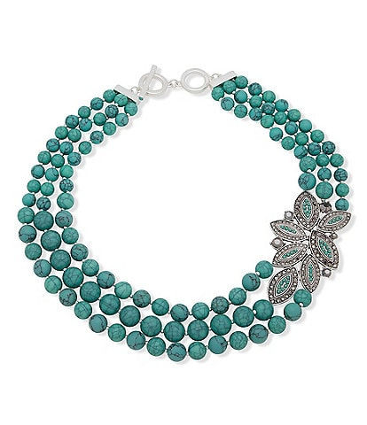 Anne Klein Turquoise Beaded Torsade Necklace