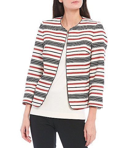 Anne Klein Tweed Thin Stripe Print Piped Jacket