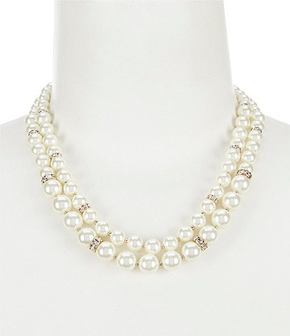 Anne Klein Two Row Pearl Collar Necklace