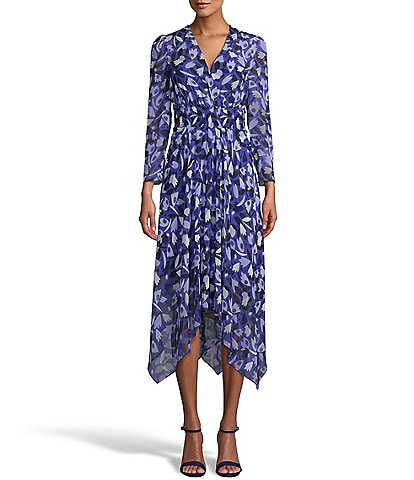 Anne Klein V-Neck 3/4 Sleeve Floral Print Smocked Waistband Asymmetric Hem Chiffon Midi Dress
