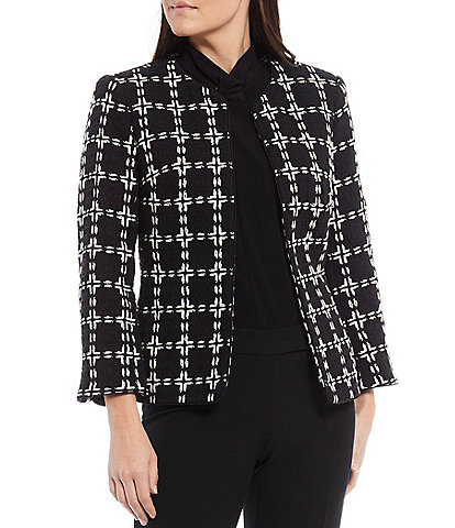 Anne Klein Windowpane Plaid 3/4 Sleeve Open Front Cardigan Jacket