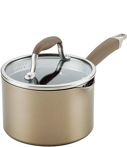 Anolon Advanced Home Hard Anodized Nonstick Bronze 2-Quart Straining Saucepan