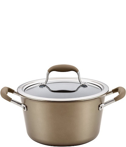 Anolon Advanced Home Hard Anodized Nonstick Bronze 4.5-Quart Covered Tapered Saucepot
