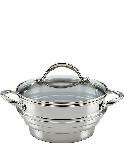 Anolon Stainless Steel Universal Steamer with Glass Lid