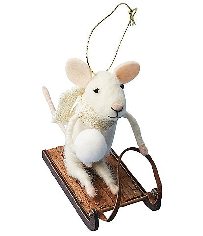 Anthropologie Sledding Mouse Ornament