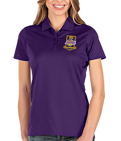 Antigua Women's NBA Los Angeles Lakers 2020 Champions Balance Short-Sleeve Polo Shirt