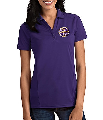 Antigua Women's NCAA 2019 National Champions LSU Tigers Tribute Short-Sleeve Polo Shirt