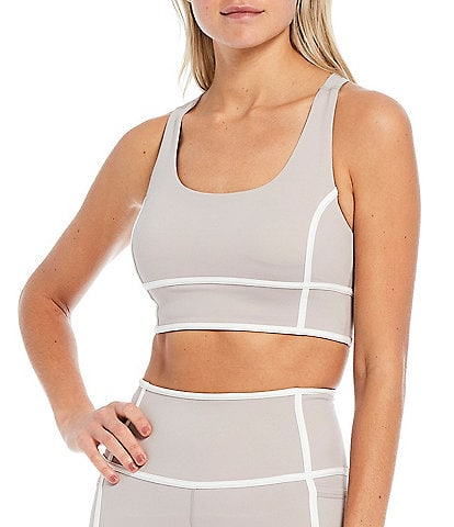 Antonio Melani Action Long Line Medium Impact Contrast Trim Sports Bra