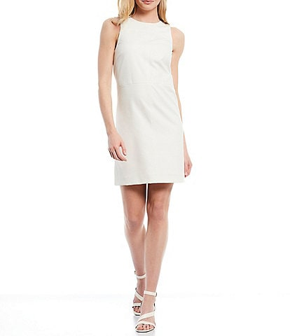 Antonio Melani Akira Sleeveless Sateen Crew Neck Shift Dress