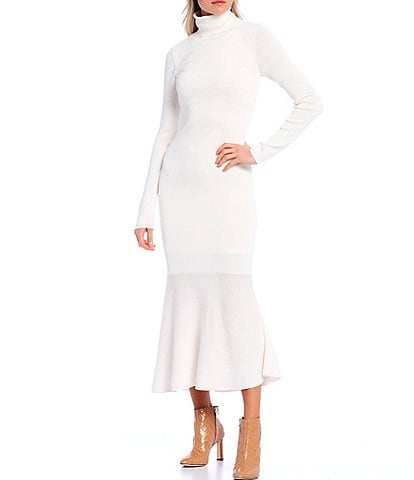 Antonio Melani Amhurst Fine Gauge Sweater Knit Mock Neck Flounce Hem Midi Dress