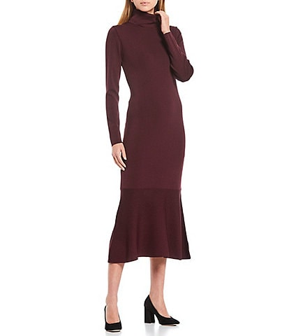 Antonio Melani Amhurst Fine Gauge Knit Mock Neck Flounce Hem Midi Dress