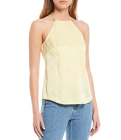 Antonio Melani Anyta Sandwashed Stretch Silk-Blend High Neck Sleeveless Blouse