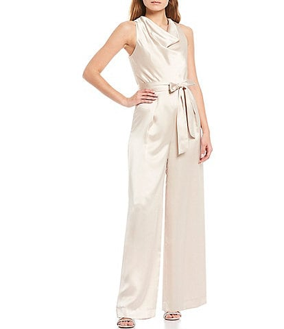Antonio Melani Arlene Cowl Neck Sleeveless Tie Waist Satin Jumpsuit