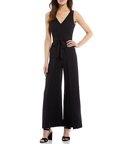 Antonio Melani Asia Stretch Crepe V-Neck Sleeveless Split Leg Tie-Waist Jumpsuit