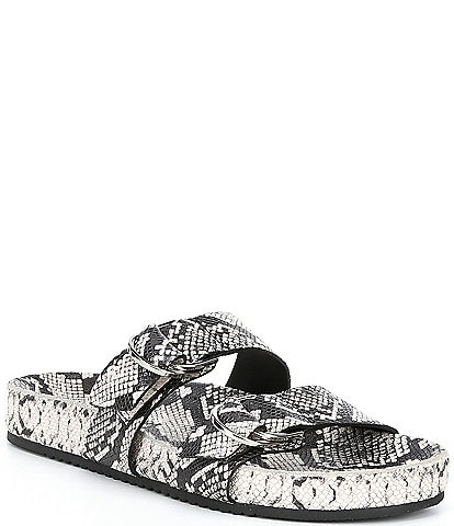 Antonio Melani Branson Snake Print Leather Double Buckle Sandals
