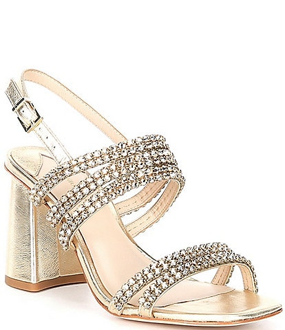 Antonio Melani Breanne Metallic Leather Rhinestone Embellished Dress Sandals