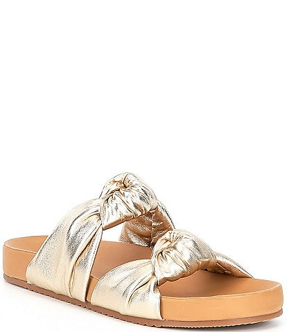 Antonio Melani Byrne Knotted Leather Footbed Slide Sandals