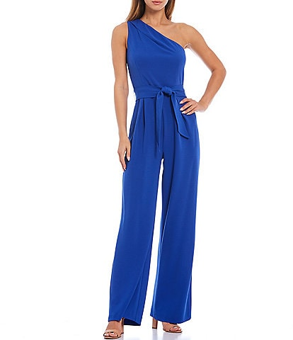 Antonio Melani Carlos One Shoulder Tie Waist Sleeveless Wide Leg Jumpsuit