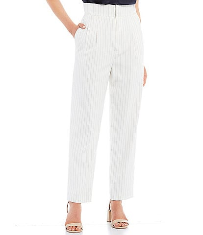 Antonio Melani Casey Pinstripe Stretch Twill High-Rise Pleated Ankle Pants
