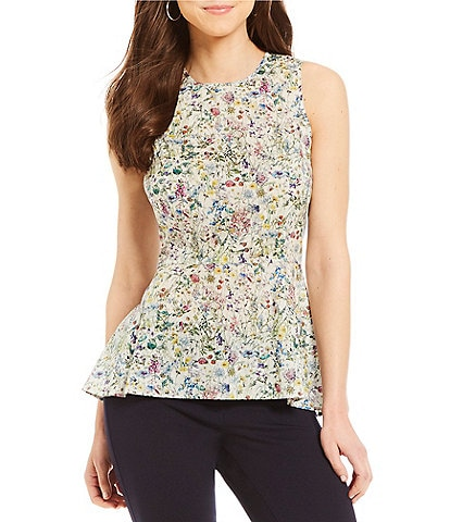 Antonio Melani CeCe Wild Flower Floral Print Peplum Blouse Made With Liberty Fabrics