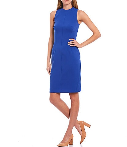 Antonio Melani Cindy Sleeveless High Neck Crepe Sheath Dress