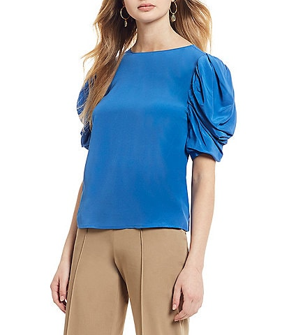 Antonio Melani Claire Puffy Ruched Short Sleeve Blouse