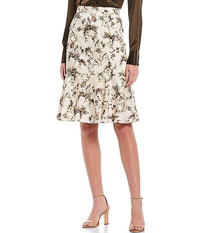 Antonio Melani Colton Floral Printed Satin Skirt