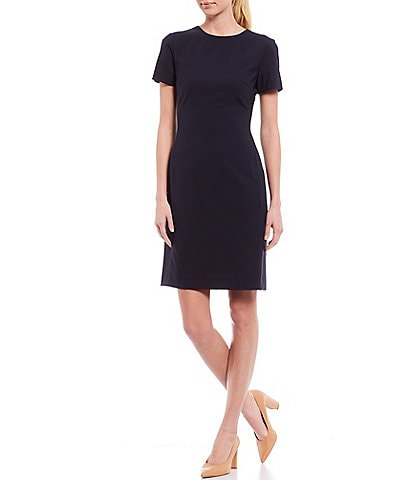 Antonio Melani Crissy Short Sleeve Stretch Woven Wool Blend Sheath Dress