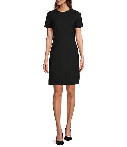 Antonio Melani Crissy Short Sleeve Stretch Woven Wool Blend Sheath Dress