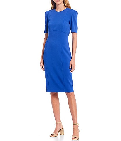 Antonio Melani Deb Solid Stretch Crepe Round Neck Puff Sleeve Sheath Dress