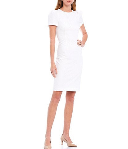 Antonio Melani Diem Stretch Crepe Ruched Sleeve Sheath Dress