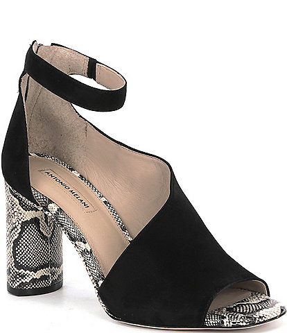 Antonio Melani Ehren Leather Snake Print Ankle Strap Block Heel Dress Pumps