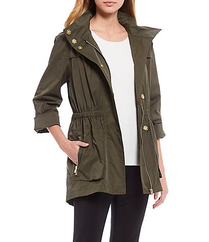 Antonio Melani Erin Drawstring Waist Cargo Pocket Detachable Hood Raincoat
