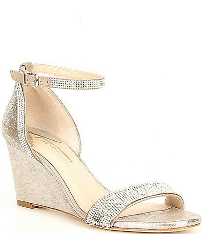 Antonio Melani Feenah Suede & Metallic Leather Jewel Embellished Evening Dress Wedges