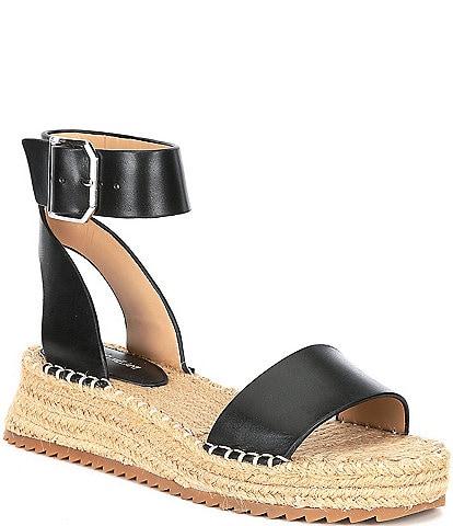 Antonio Melani Fosterr Leather Ankle Strap Espadrille Wedges