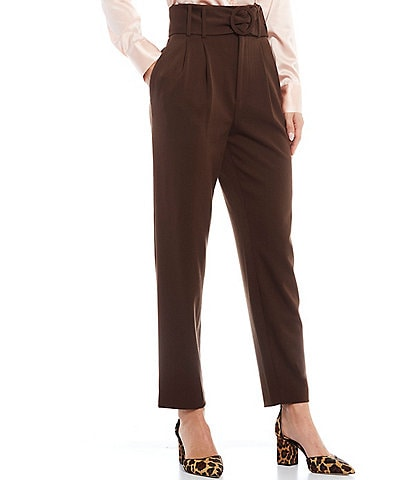 Antonio Melani Fran Stretch Twill Pleat Front Belted Pants