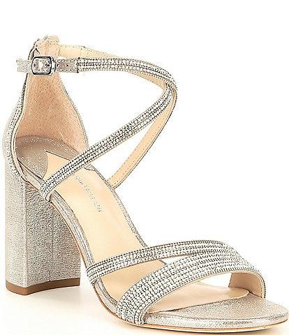 Antonio Melani Garlini Rhinestone Embellished Block Heel Dress Sandals