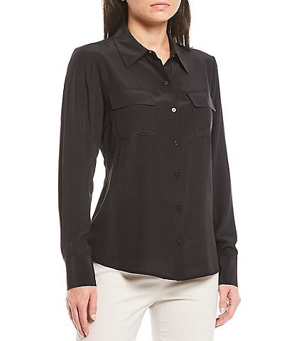 Antonio Melani Gemma Button Front Silk Charmeuse Pocket Blouse