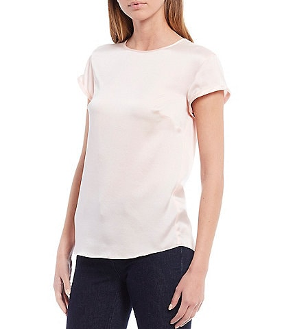 Antonio Melani Gilly Sandwashed Stretch Silk-Blend Rolled Short Sleeve Blouse