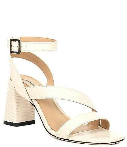 Antonio Melani Grettell Croc Embossed Leather Dress Sandals