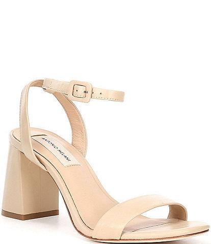 Antonio Melani Gwyn Square Toe Leather Ankle Strap Dress Sandals